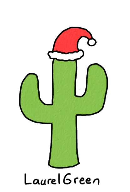 a drawing of a cactus wearing a santa hat